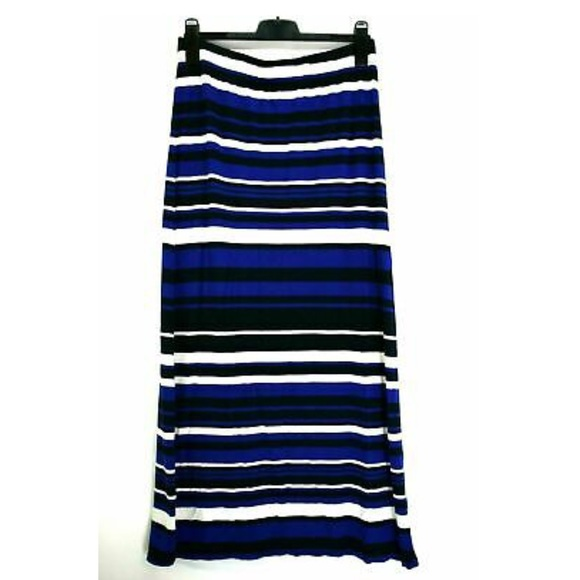 Blue White Black Stripe Banana Republic Maxi Skirt
